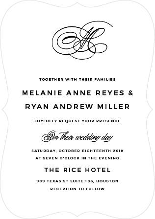 Charmed Monogram Wedding Invitations