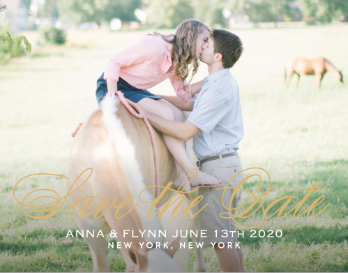 The Statement Script Save The Date is an alluring way to inform your loved ones about your important date. With graceful text to compliment your beautiful picture this card is the perfect choice! Set the colors, font and text to show off your personality.