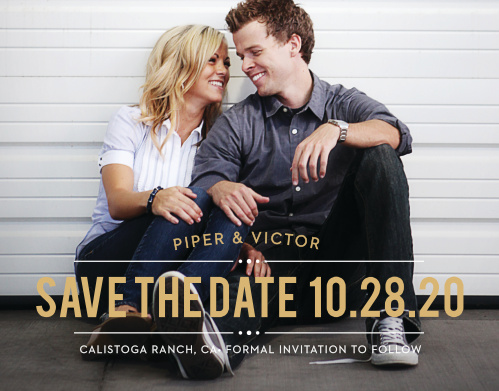 The Perennial Playbill Save The Date is a great way to share your information with your family and friends. The beautiful text banner is the perfect compliment to your picture.