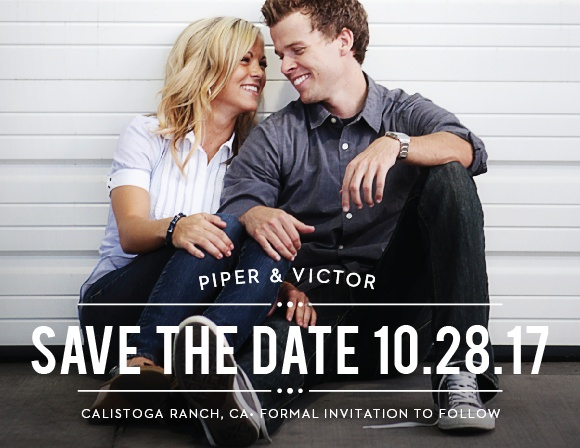 The Playbill Save The Date is a great way to share your information with your family and friends. The rustic text banner is the perfect compliment to your picture.