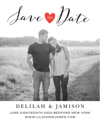 The Script Heart save-the-date is the perfect way to show off your love and to tell those you love to mark your special day on the calendars! Change the heart to your wedding theme to add a splash of color!