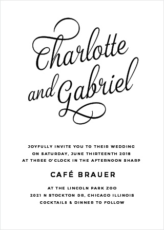 The Script Emblem Wedding Invitations are a charming example of typography at its best.