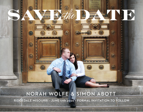 The Vintage Ticket Save The Date is the perfect way to share your information with your loved ones. The chic text is the perfect partner for your timeless picture. Set the colors, font and text to show off your darling personality! Let the countdown begin!