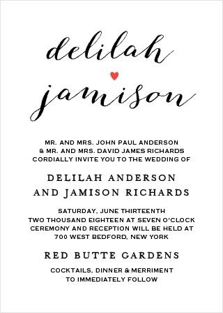 Script Heart Portrait Wedding Invitations