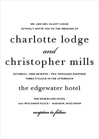 Sophisticated Typography Portrait Wedding Invitation
