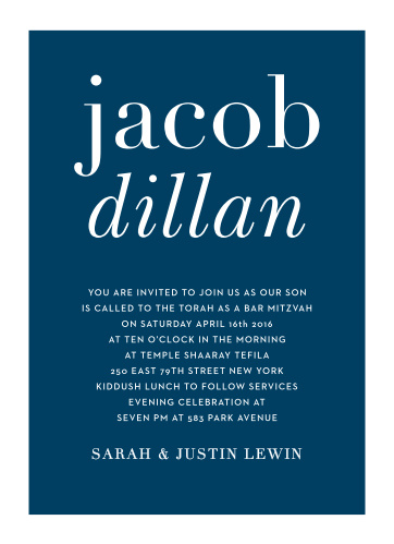 The Bold Names Bar Mitzvah invitations offer stylish sophistication with its strong typography and text. With it's simple layout it can be personalized to fit any style.