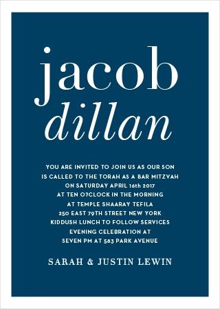 Bold Names Bar Mitzvah Invitations