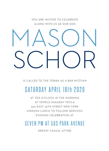 The Colorful Names Bar Mitzvah invitations offer stylish sophistication with its simple typography and text. With it's sophisticated layout it can be personalized to fit any style.