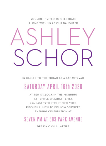 The Colorful Names Bat Mitzvah invitations offer stylish sophistication with its simple typography and text. With it's sophisticated layout it can be personalized to fit any style.