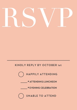 The Formal Type Bat Mitzvah RSVP Cards are designed to perfectly match and compliment the similarly-named invitation suite. Match the colors and get a headcount for your celebration!