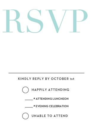 The Formal Type Bar Mitzvah RSVP Cards are designed to perfectly match and compliment the similarly-named invitation suite. Match the colors and get a headcount for your celebration!