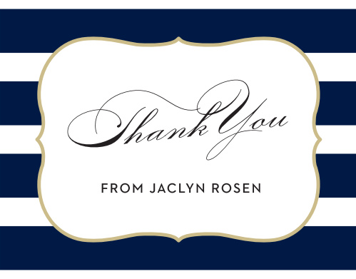 Wrap up your perfect Bat Mitzvah experience with the Scallop Frame Thank You cards.