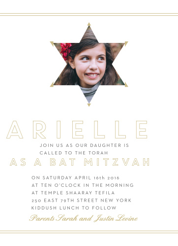 Frame yourself in the time-honored traditions of being calls to the Torah as a Bat Mitzvah by wrapping your picture in the Star of David with the help of the Our Star Bat Mitzvah Invitations!