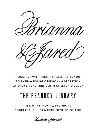 Traditional Script Wedding Invitations