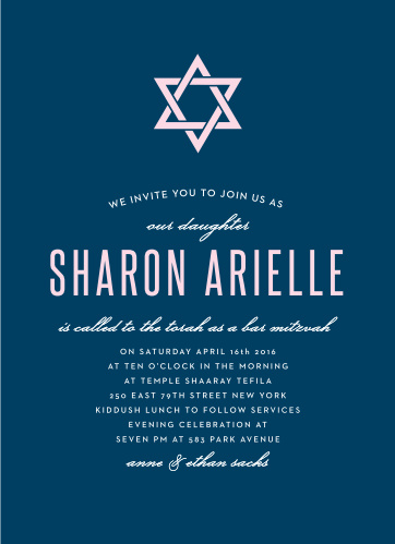 Stay true to the age-old traditions of the Bat Mitzvah with the Traditions Invitation! Simple colors and layout put your name underneath the elegant Star of David. Pick your fonts and colors to make it as true as you.