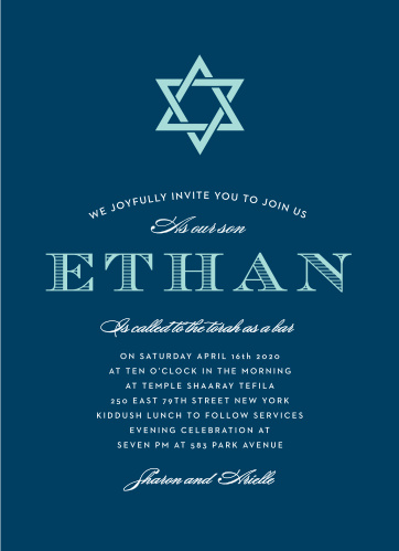 Stay true to the age-old traditions of the Bar Mitzvah with the Traditions Invitation! Simple colors and layout put your name underneath the elegant Star of David. Pick your fonts and colors to make it as true as you.