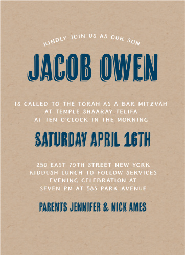 Take a unique spin on the normal Bar Mitzvah by customizing your very own Rustic Kraft Bar Mitzvah invitation. Printed on Kraft paper, the country feel of this card is a unique way to announce your upcoming celebration.