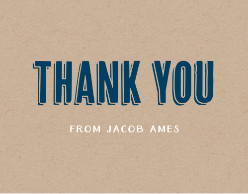 Wrap up your perfect Bar Mitzvah experience with the Rustic Kraft Thank You cards. Express your gratitude to all your family and friends with a personalized Thank You card.