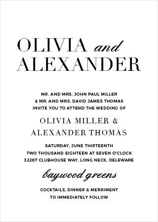 The Typography Portrait Wedding Invitations