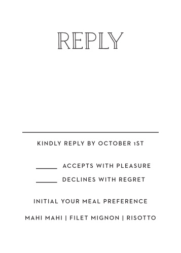 Ask for your guest Response with the Type Frame RSVP card.