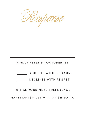 Traditional Script RSVP card compliments the rest of your invitation suite perfectly!