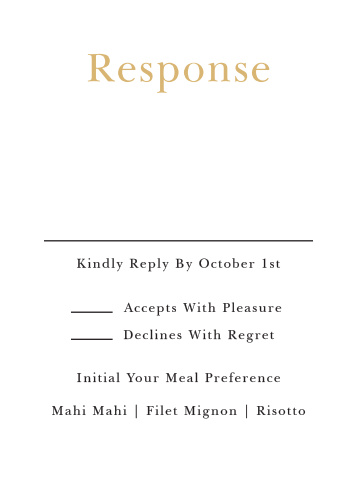 The Sophisticated Typography Response card is classy, elegant, and perfect way for you to get your guests response!
