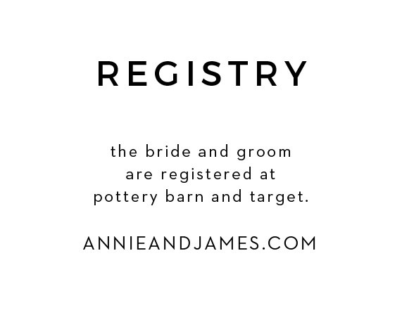 To match the rest of The Simplicity Wedding Suite, customize these simple registry cards. Your guests are going to buy you a gift, at least give them the gentle hint of where you're registered at!