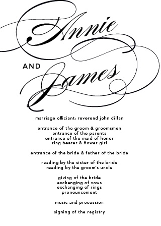 The Simplicity Wedding Program