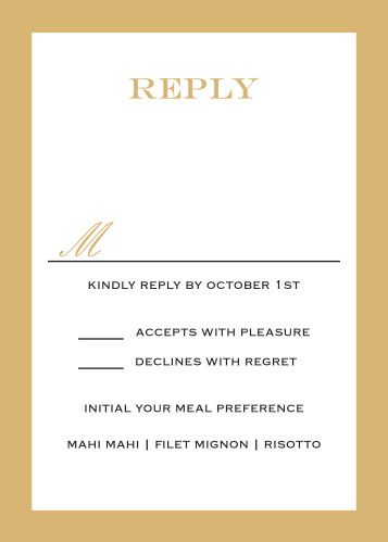 Obtain your guests attendance by sending out this matching Classic Border RSVP card.