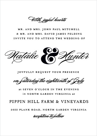 Breathtaking meets simple elegance in the traditional Ampersand Wedding Invitation.