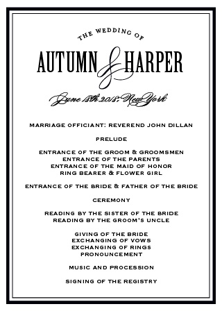 Antique Elegance Wedding Program