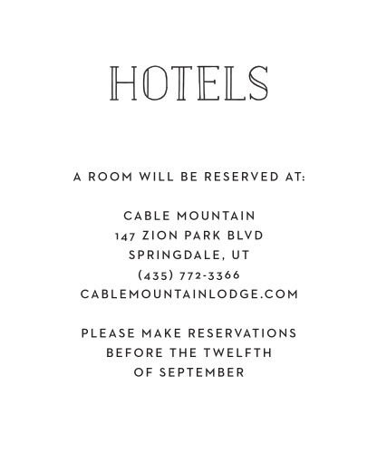 Give your guests the details of your wedding by using this Type Frame Accommodation card.