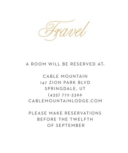 Give your guests all your info on travel, hotels, and additional info with this Traditional Script accommodation card. This invitation suite will give your guests a great first impression!