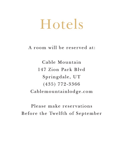 The Sophisticated Typography accommodation card is a wonderful addition to your invitation. Spruce it up by changing the colors or keep it simple with the black and white.