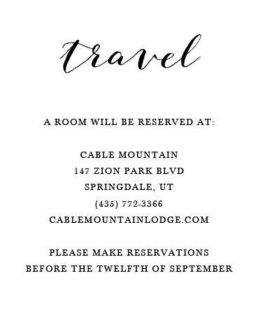 Show some love to your guests by purchasing the Script Heart invitation suite. The accommodation card is a great way to share additional information with those you love. Include travel, hotel and dining options for your guest.
