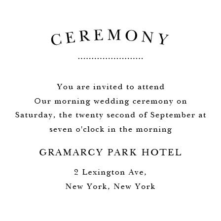 Elegant Vintage Ceremony Cards
