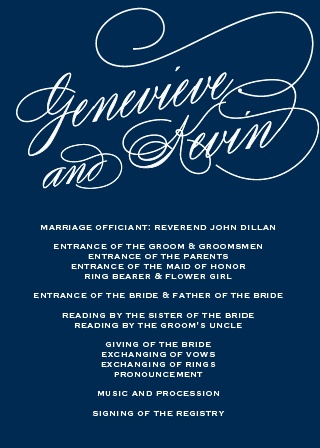 Feeling like a celebrity comes standard with the Glamorous Typography Wedding Program!