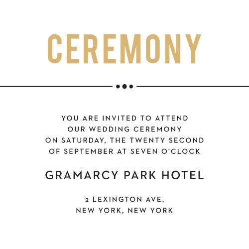 Send out personalized invitations to the grand even of your wedding ceremony with the Perennial Playbill Ceremony cards.
