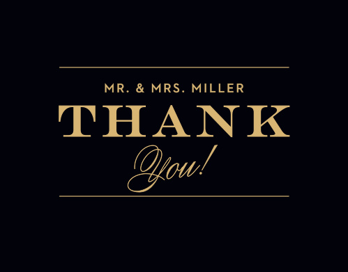 Say thank you to all those who supported you and your fiancé on your big day! It is the perfect match to your Vintage Ticket invitation suite.