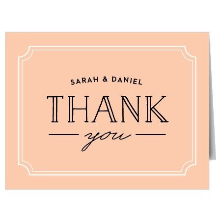 The Type Frame Thank You card includes your name and a big Thank You to show your gratitude for all those who supported you on our big day.