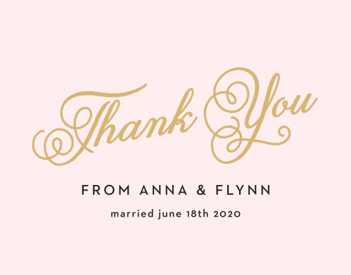 The Sweetheart Script invitation suite gives your cards a familiar feel and the Thank You card is no different! The Thank You card is totally customizable so you can change the text, font and color to match your theme!