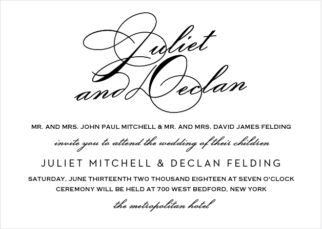 Clean lines and an elegant typeface make the Classic Script Wedding Invitations stand out among announcements.