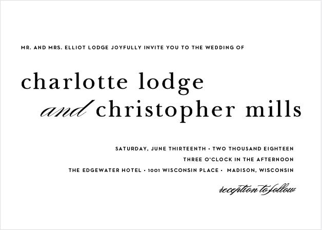 A sleek design makes the Sophisticated Typography Wedding Invitations a modern and elegant choice for announcing your special occasion to friends and family.