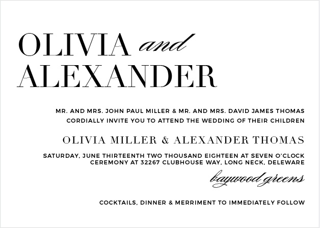 The Typography Wedding Invitations are a beautiful and contemporary way to announce your upcoming event to friends and family.