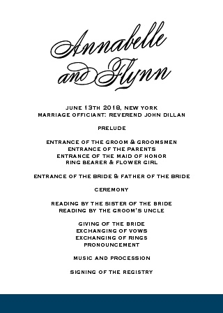 The beautiful fonts and clean design of the Statement Script Wedding Programs make it a smart choice keeping your wedding day organized. This elegant design provides plenty of space for wedding day details and is easy to customize with your personal color and font preferences.