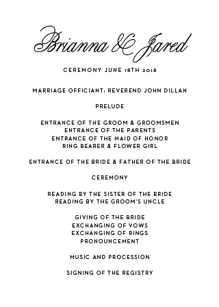 This classic yet fresh design of the Traditional Script Wedding Programs will keep you and your guests organized with its smart use of space and beautiful typography. It's also easily customizable online with over 150 font and color options.