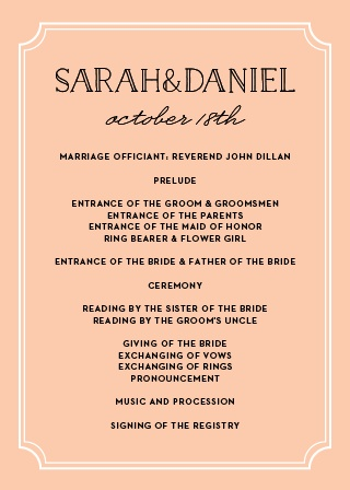 Enjoy your wedding day more by having it planned out using our Type Frame Wedding Programs. With our seemingly endless font and color options, you have the flexibility to create your dream wedding stationery.