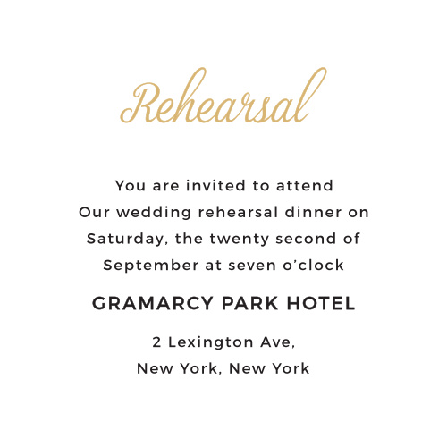 Inform your guests of all the important details by ordering enclosure cards to match your invitation. The Script Emblem ceremony card is the perfect addition! It allows your guests to know all the necessary details of your big day.