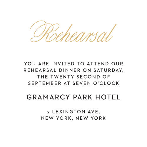 The Traditional Script invitation suite gives a chic look to your stationary. The ceremony card allows you to add any additional information for your guests. Customize it to your wedding theme.