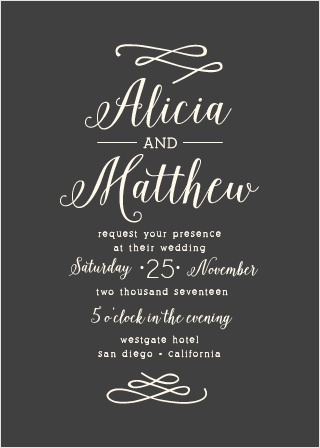 Whimsical Calligraphy Wedding Invitations